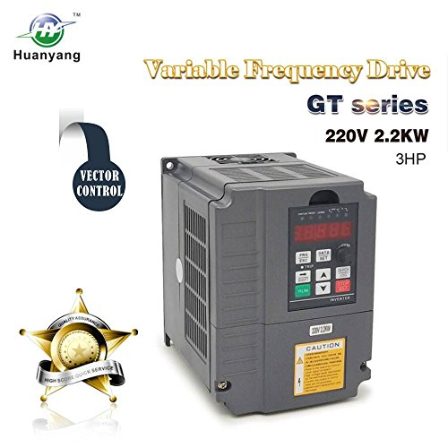 Vector Control CNC VFD Variable Frequency Drive Controller Inverter Converter 220V 2.2KW 3HP for Motor Speed Control HUANYANG GT-Series (220V, 2.2KW) ()
