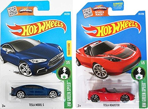 Hot Wheels 2016 Red Tesla Roadster and Blue Model S