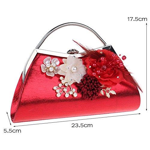 Stylish Women's Bag Flowers Bag Dinner Tote Silver Bag Shoulder pr4tzqrwx