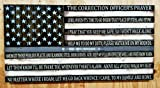 Wooden Rustic Style Thin Silver Line American Flag w/ Correction Officer's Prayer