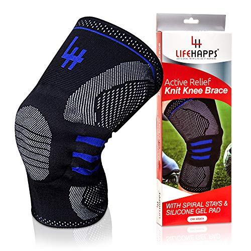 Lifehapps Active Relief Knee Brace Gel Knee Support and Compression Sleeve with Side Stabilizers for Arthritis Joint Pain, Meniscus Tears, ACL, MCL Injuries, Exercise, Running (Black, Large)