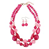KOSMOS-LI Statement Chunky Resin Hot Pink Beaded Fashion Strand Necklaces for Women Gifts