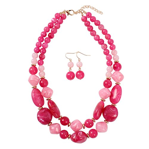 KOSMOS-LI Statement Chunky Resin Hot Pink Beaded Fashion Strand Necklaces for Women ()