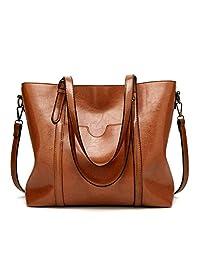 STARSCITY Women Bag Top Handle Satchel Vintage Shoulder Bag Tote Purse Large Capacity Bags Tote Bag,Leather Purse Handbag Shoulder Bag