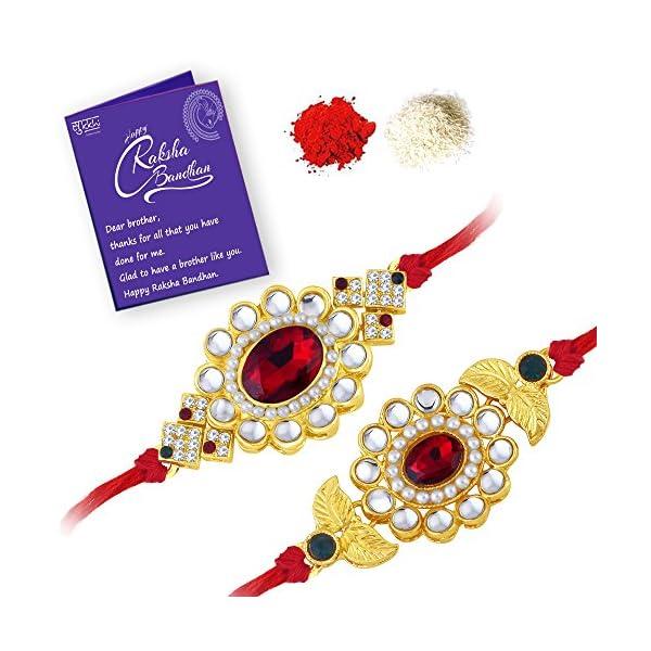 Gold Plated Designer Floral Rakhi Combo (Set of 2)