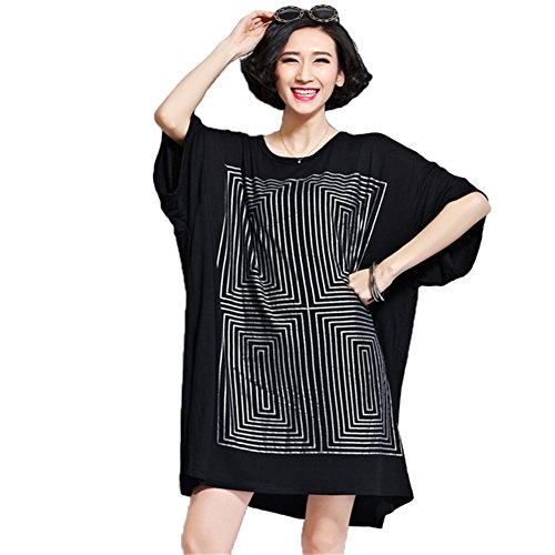 YJWAN Women Summer Plus Size Tops Casual Style Shirts Short Sleeve Cotton Dress
