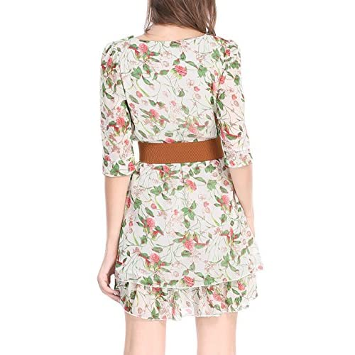 d731bd6678 Allegra K Women s Layered 3 4 Sleeve Floral Above Knee Belted Dress low-cost