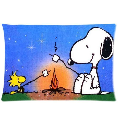 Snoopy, Woodstock toasting marshmallows pillow cushion
