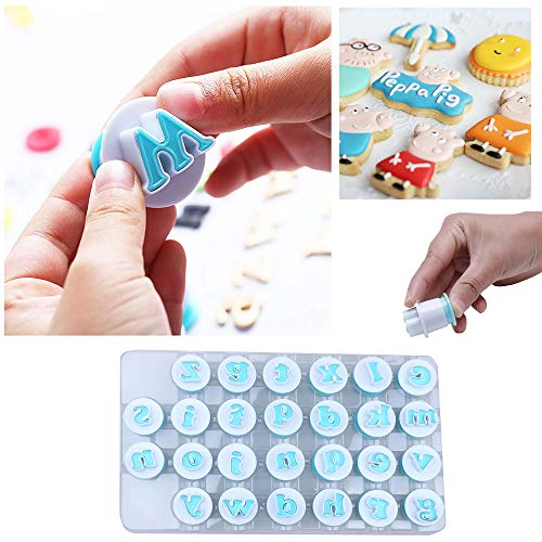 26PCS/Set Cookie Stamp Impress Cookie Cutters Alphabet Letter Fondant Cake Biscuit Mold Lower Case Letter Shape DIY Cookie Biscuit Alphabet Letters Cake Tool Embosser Cutter