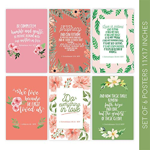 (Bible Verse Wall Art, Set of 6 Posters 11x17 Bible Verse, Christian Wall Decor,  Religious Gifts, Scripture Wall Art for Home)