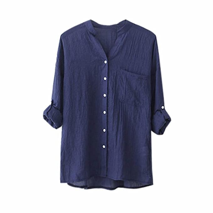 f2b9abb047805 K-Youth Camisetas Mujer Tallas Grandes Cuello V Botones Camisetas Mujer  Verano Manga Larga Blouse