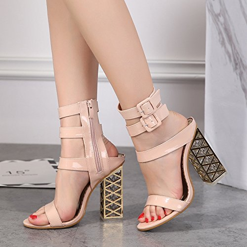 con nuovo ZHZNVX alti donne con scarpe apricot sandali singoli come tacchi crystal Il i spessore di rugiada toe qq451zrx