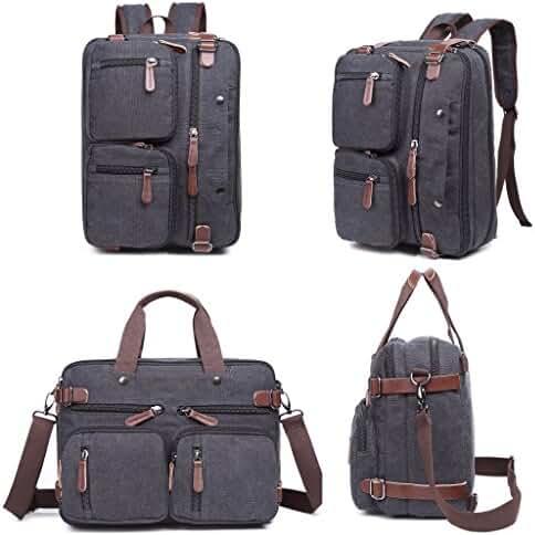 Clean Vintage Laptop Backpack Messenger Bag-Hybrid Briefcase Backpack Vintage BookBag Rucksack Satchel - Waxed Canvas