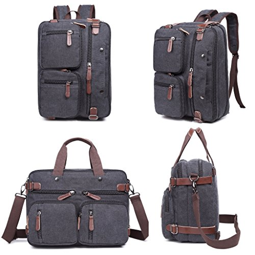 Laptop Bag, Clean Vintage Hybrid Backpack Messenger Bag/Convertible Briefcase Backpack Satchel Men Women/BookBag Rucksack Daypack-Waxed Canvas Leather, Black 13-14-15-inch Laptops/ MacBooks