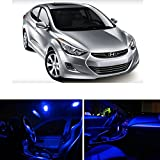 Hyundai Elantra 2011 & Up Blue Premium LED Interior Lights Package Kit (8 Pieces)