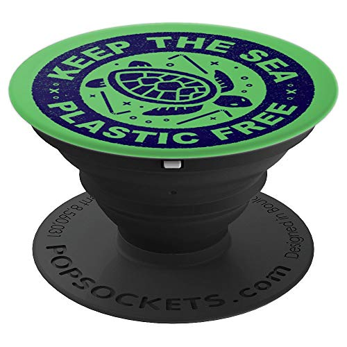 Save the Ocean - Keep the Sea Plastic Free Green Background - PopSockets Grip and Stand for Phones and Tablets