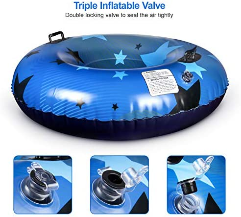 Kupton Inflatable Snow Tube for Sledding, Snow Sleds for Kids and Adults, Heavy Duty 47 Inch Large Size Snow Tube with Strong Handles, Thickening Freeze-Proof & Wear-Resistant Material