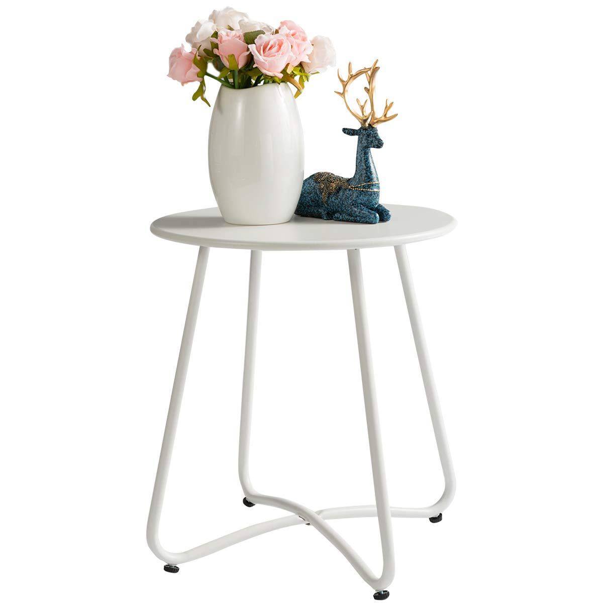 """HollyHOME Small Round Patio Metal Side Snack Table, Accent Anti-Rust Steel Coffee Table for Garden, Modern Weatherproof Outdoor End Table, (H) 17.55"""" x(D) 15.60"""", White"""