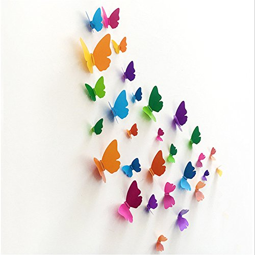 Vine_MINMI DIY Wall Mural Stickers 3D Butterfly, Stick Wall-Decals for Living Room Bedroom Home Decorations ()