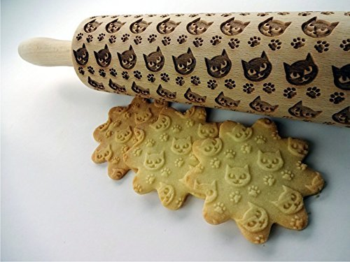 PUSSY CAT Embossing Rolling Pin. Engraved rolling pin with Cat Paws for embossed cookies or pasta. Dough roller with animals. Kitty. Cats