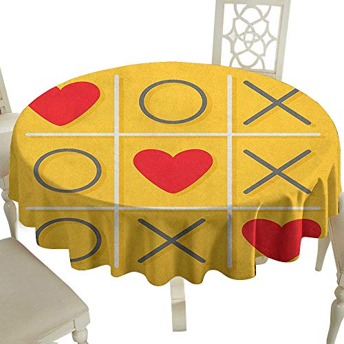 (Striped Round Tablecloth 36 Inch Love,Tic-Tac-Toe Game with XOXO Design Let Me Kiss You Valentines Romantic Illustration Yellow Red Great for Traveling & More)