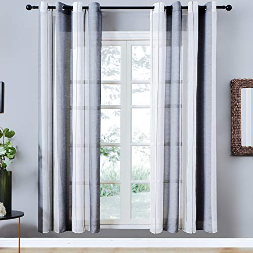 - Top Finel Sheer Curtains 84 Inches Long for Bedroom Living Room Grey Vertical Striped Grommet Yarn Dyed Window Curtains, 2 Panels