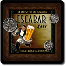 Escabar Family Name Beer and Ale Rubber Drink Coasters - 4 Pack