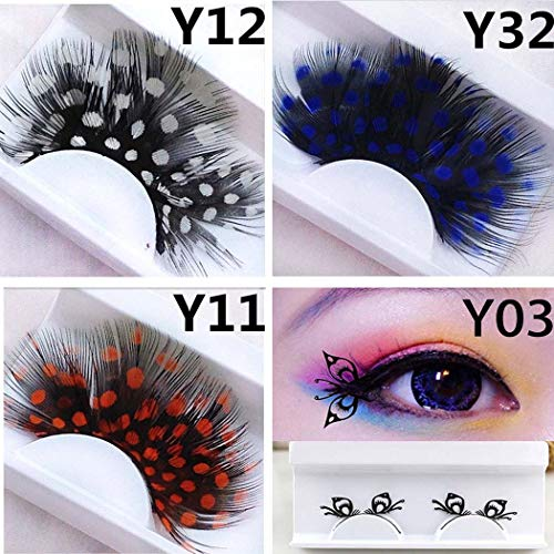 Nicute Fashion Handmade Spotted Long Lashes Dance Colorful Feather False Eyelashes Set Halloween Cosplay Fake Eyelash 4 Pairs for Women and Girls (Pattern 3)]()