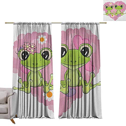 Shades Window Treatment Valances Curtains Love,Two Cartoon Frogs on a Background of Heart in Love Valentines Flowers, Dried Rose Lime Green W96 x L96 Thermal Insulated Blackout Curtains