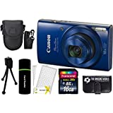 Canon PowerShot ELPH 190 IS 20.2MP 10x Zoom Wi-Fi Digital Camera (Blue) + 16GB Card + Reader + Case + Accessory Bundle