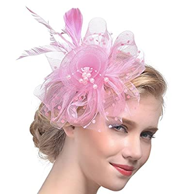 Women Fascinators Hair Clip Veil Flower Cocktail Tea Party Headwear
