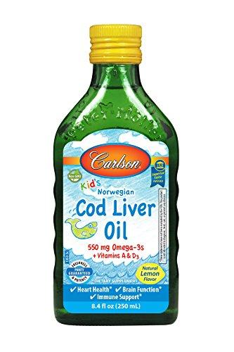 Carlson Kid's Cod Liver Oil, Lemon, 550 mg Omega-3s, 250 mL by Carlson