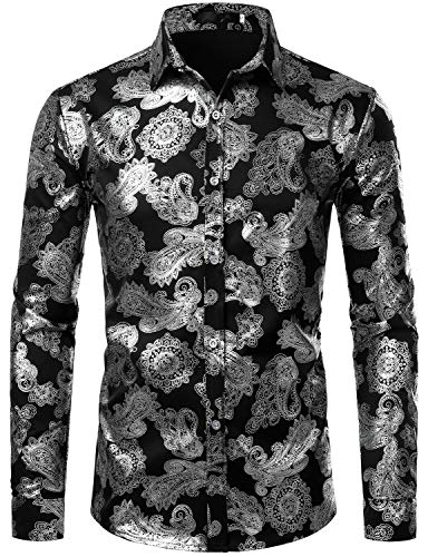 ZEROYAA Mens Paisley Shirts Metallic Printed Slim Fit Long Sleeve Button Down Party Shirts ZZCL26 Black XX-Large -