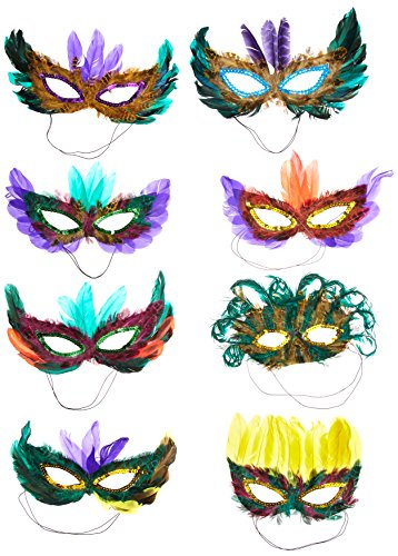 50 (Fifty) Pack of Mardi Gras Masquerade Party Feather Fantasy Masks(Assorted Colors) ()