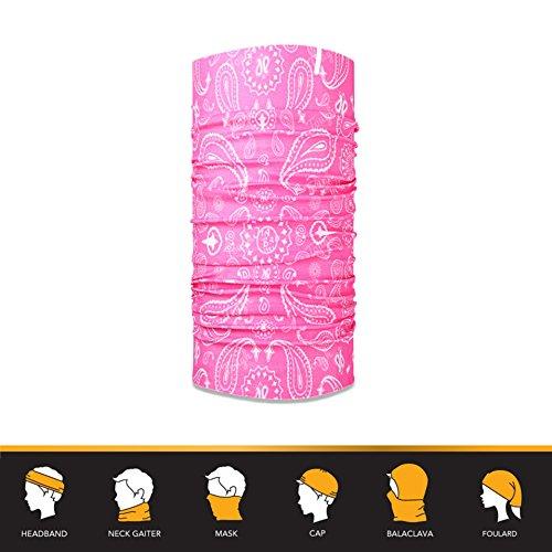 12-in-1 Bandana Headband - UPF 30 Versatile Outdoors & Daily Headwear - 12 Ways to Wear including Bandana, Neck Gaiter, Helmet Liner, Balaclava. Performance Moisture Wicking Microfiber
