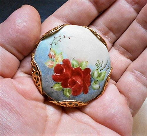 Large Vintage Hand Painted Porcelain Red Roses Artistic Colorful Signed Brass Brooch Pendant 1 3/4 wide.