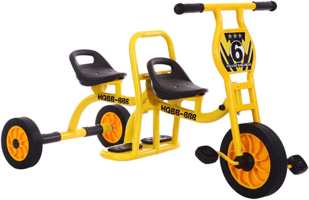 LKJCZ Cochecito Triciclo Bicicleta Doble, Jardín de Infancia Pedal de Juguete Doble Preescolar Especial Niño Triciclo Niños Triciclo Bicicleta tándem bebé 2-6 años Hombre y Mujer
