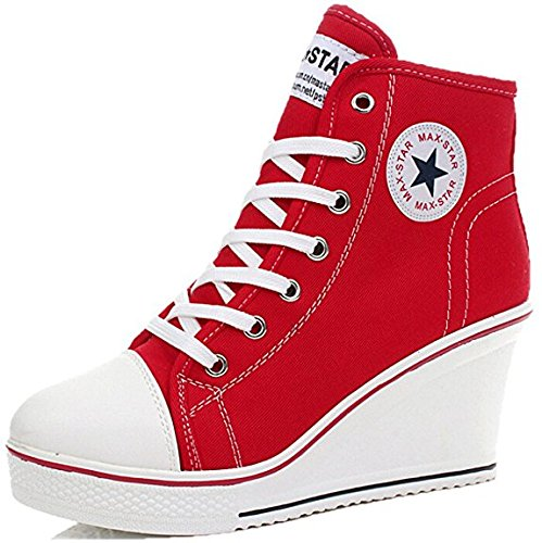 JIYE Women's High-Heeled Canvas Shoes High-Top Wedge Fashion Sneakers,Red,6.5 M US