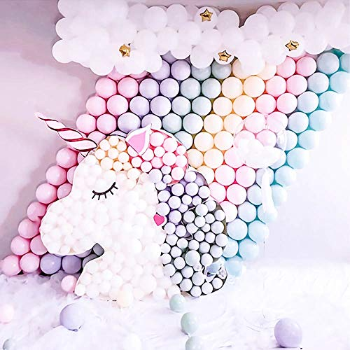 Pastel Balloons Unicorn 300pcs 5 Inches Mini Assorted Candy Color Macaron Latex Balloons - Balloons Only - for Unicorn Party Wedding Girls Birthday Baby Shower Decoration -