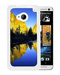 New Custom Designed Cover Case For HTC ONE M7 With River Reflecting The Mountains Nature Mobile Wallpaper (2) Phone Case