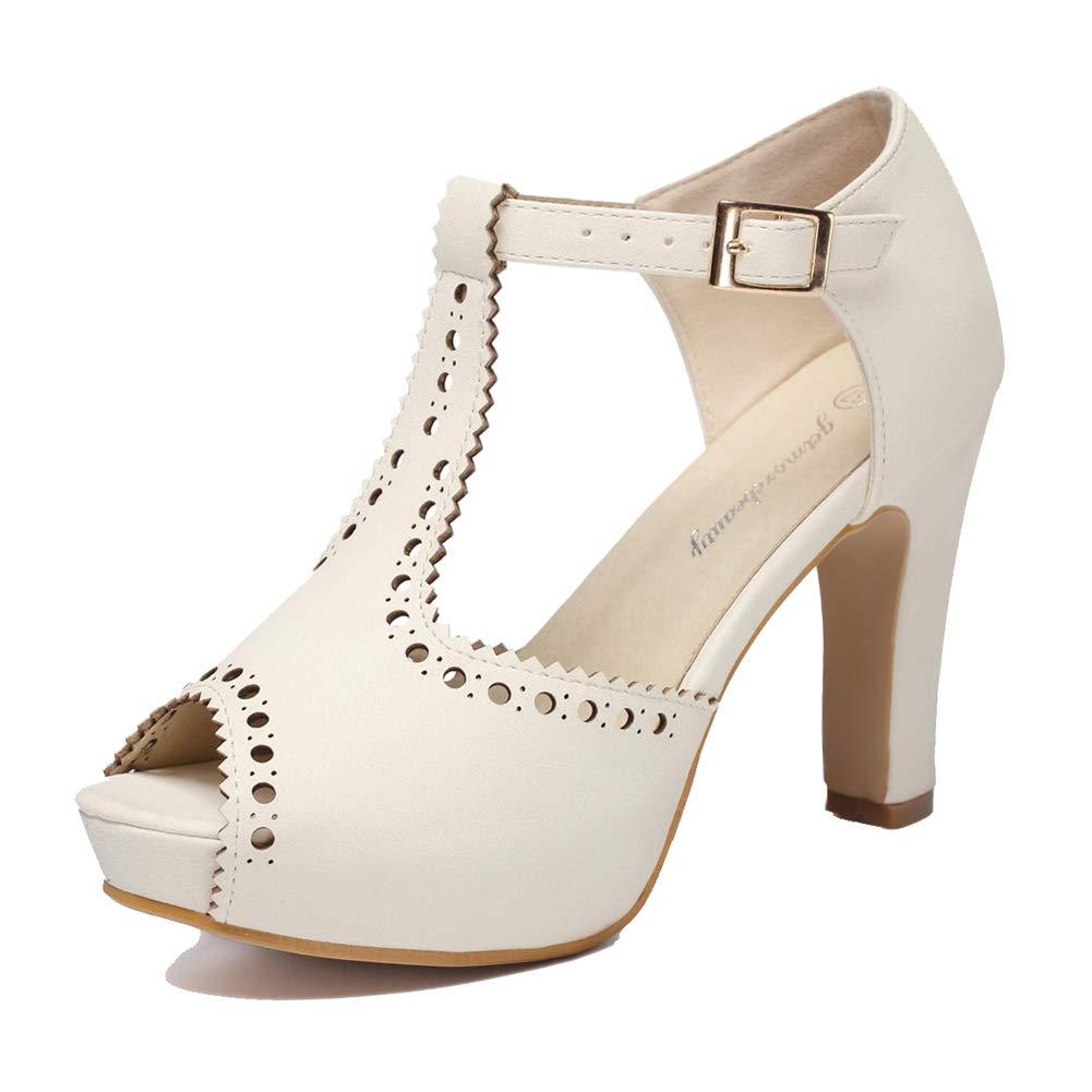 Ivory getmorebeauty Women's Vintage Suede Ankle T Straps Dress Block Heeled Sandals Pumps
