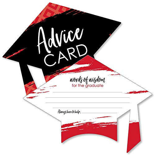 (Red Grad - Best is Yet to Come - Red Grad Cap Graduation Party Advice Cards - Set of)
