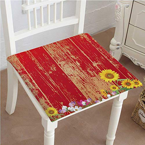 - Outdoor Chair Cushion Antique Old Planks American Style Western Rustic Wooden and sunflower, flower, grass Comfortable, Indoor, Dining Living Room, Kitchen, Office, Den, Washable 22