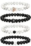 FIBO STEEL 4 Pcs Couples Bracelet Beaded Bracelet for Men Women Black Matte Agate & White Howlite CZ Crown Queen Adjustable 8MM Beads
