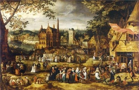 The Perfect Effect Canvas Of Oil Painting 'Village Fair By David Vinckboons' ,size: 12x18 Inch / 30x47 Cm ,this Best Price Art Decorative Canvas Prints Is Fit For Gym Artwork And Home Decor And Gifts
