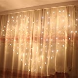 Yeahplus 124 LED 1.5m x 1.2m 8 Modes Heart Shape LED Windows Curtain Light,Waterproof String Fairy Light for Bedroom Party Christmas Wedding Curtain Festival (Warm White)