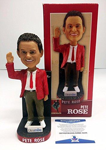 Pete Rose Signed Reds Hall Of Fame Baseball Bobblehead *Hit King BAS I55379 - Beckett -