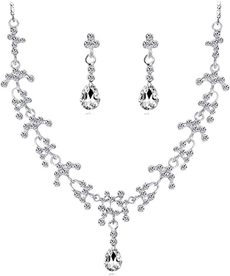 Boucles doreilles Topdo 1 Set 2018 La Mode Collier Boucles Diamant Goutte deau Style /Él/égant Femmes Filles Bijoux Ensemble De Cristal Pendentif Collier