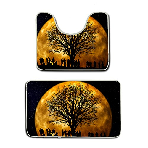 AMERICAN TANG Memory Foam 2 piece bathroom rug set - stranger full moon trees thing - Skidproof bath Mat And Toilet Seat Contour Cover rug