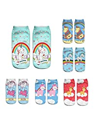 6 Pairs 3D Print Cute Unicorn Licorne Emoji Art Individual Couples Ankle Socks